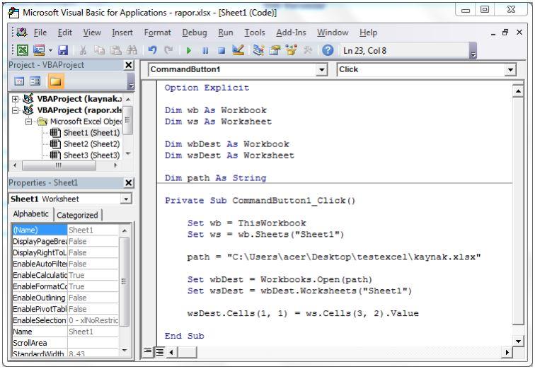 Excel VBA kod sayfası