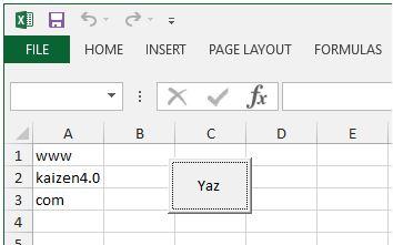 Excel VBA Buton ile text dosyasına yazmak
