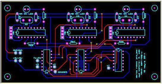 Paralel Robot Motor PIC Katı Baskı Devresi