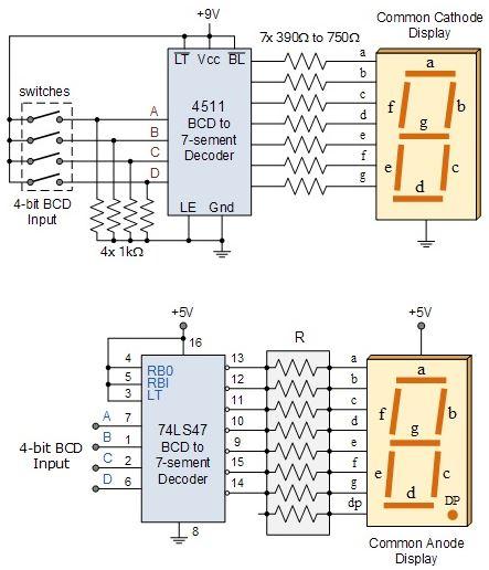 4511 entegresi 7 Segmentli Display Bağlantısı