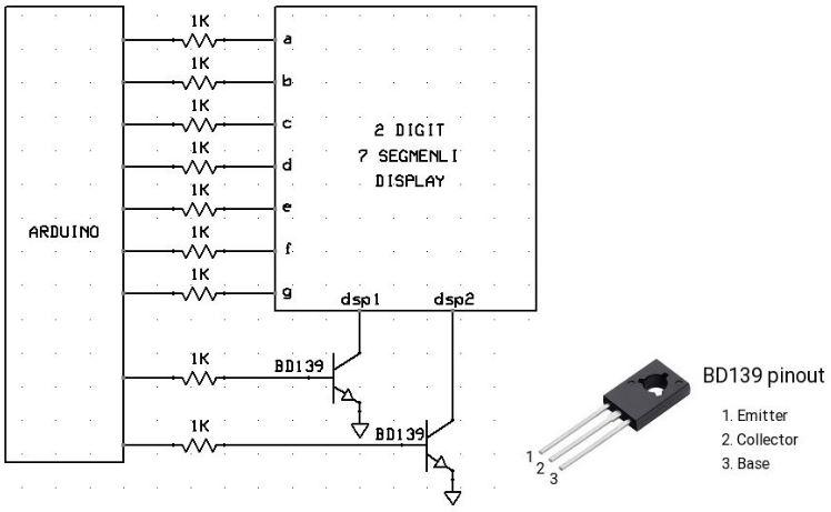 Arduino Double Segmentli Display Devre Şeması