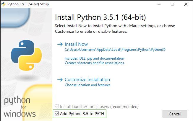 Python Kurulum Ekranı