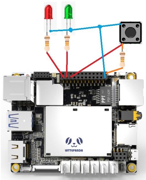 LattePanda Arduino Buton ve Led Bağlantıları