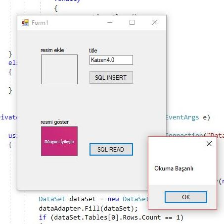 C# SQL image read, resim dosyası okuma