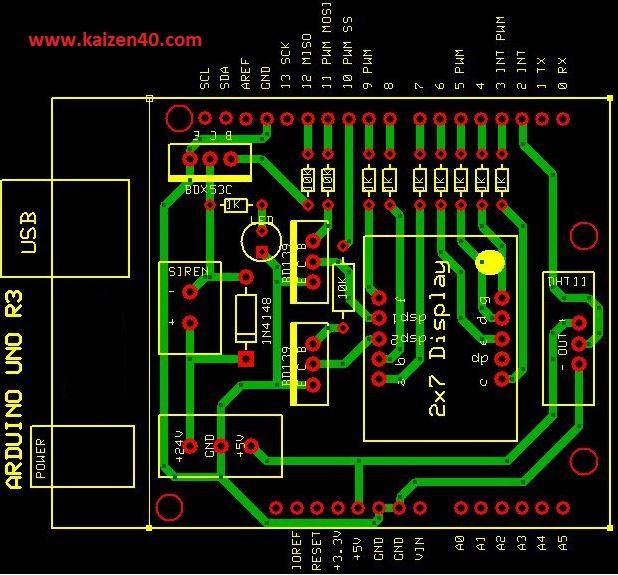 DHT11 sensorü için Arduino Shield Baskı Devresi