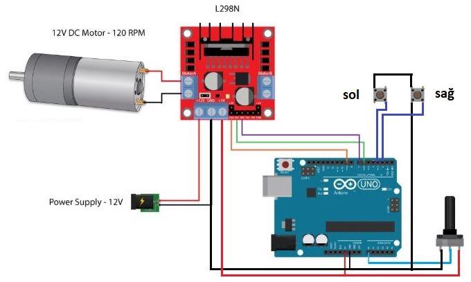 LM298 Çift Kanal Motor Sürücü Arduino Bağlantı Devresi
