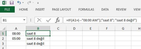 Excel Zaman Bilgisi Kontrolü Yapmak