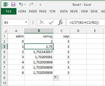 Newton İteration, Karekok Alma Fonksiyonu Excel