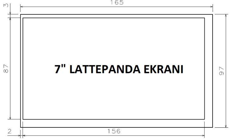 """LattePanda 7"""" Ekran Boyutları, Ölçüleri"""