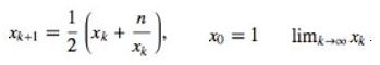 Newton İteration, Karekok Alma Fonksiyonu