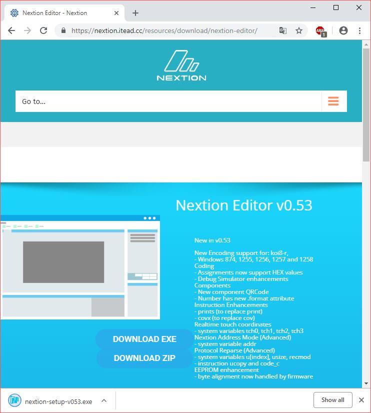 Nextion Editor Download Sayfası