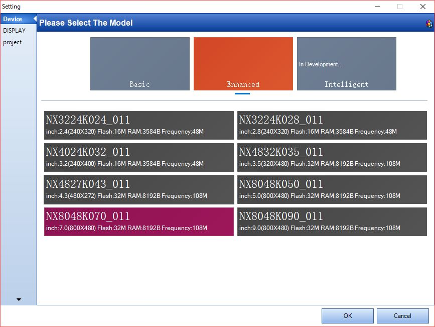 Nextion Model Setting