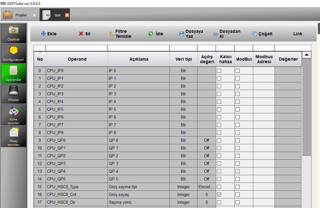 GMT PLC Operand Listeleri