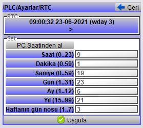 GMT PLC RTC parametresi